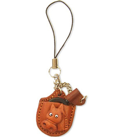 HORSE LEATHER CELLULARPHONE CHARM MAGNIFYING GLASS VANCA