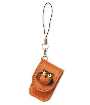 OWL LEATHER CELLULARPHONE CHARM MEMO SET