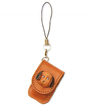 DOG LEATHER CELLULARPHONE CHARM MEMO SET