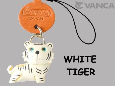 WHITE TIGER LEATHER CELLULARPHONE CHARM