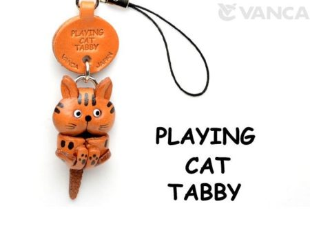 TABBY PLAYING LEATHER CELLULARPHONE CHARM CAT