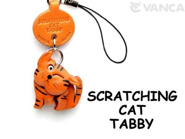 TABBY SCRATCHING LEATHER CELLULARPHONE CHARM CAT