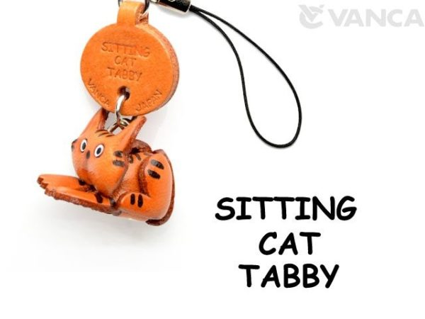 TABBY SITTING JAPANESE LEATHER CELLULARPHONE CHARM CAT