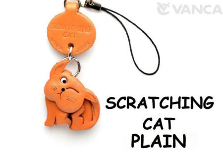 SCRATCHING LEATHER CELLULARPHONE CHARM CAT