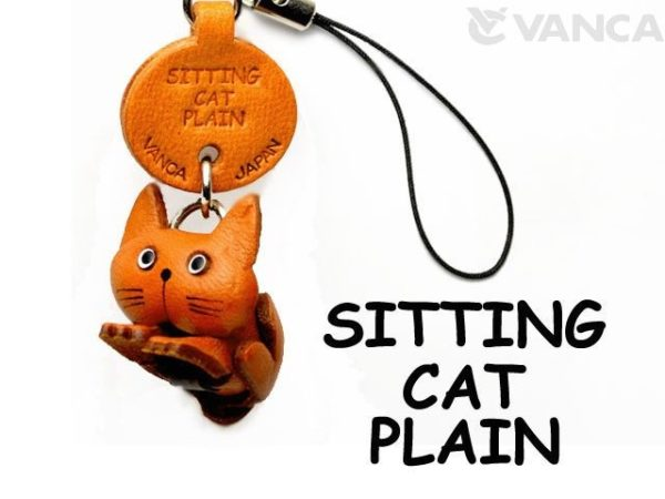 SITTING LEATHER CELLULARPHONE CHARM CAT