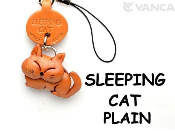SLEEPING LEATHER CELLULARPHONE CHARM CAT
