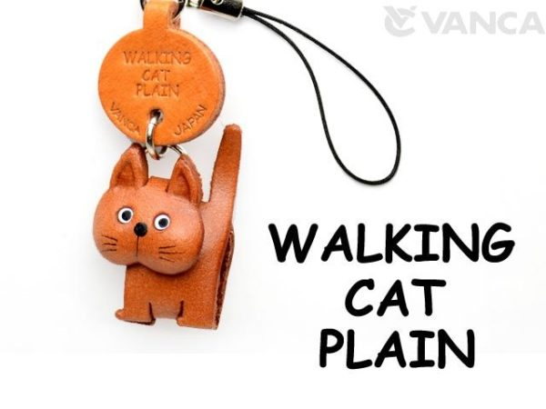 WALKING LEATHER CELLULARPHONE CHARM CAT