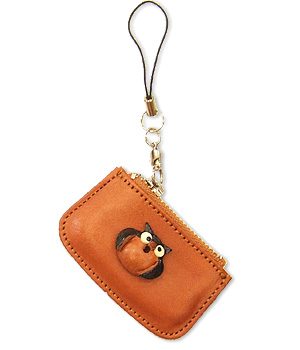 OWL LEATHER CELLULARPHONE CHARM CHANGE PURSE