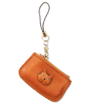 CAT LEATHER CELLULARPHONE CHARM CHANGE PURSE