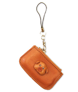 PIG LEATHER CELLULARPHONE CHARM CHANGE PURSE