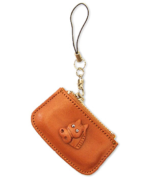 HORSE LEATHER CELLULARPHONE CHARM CHANGE PURSE