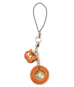 CAT LEATHER CELLULARPHONE CHARM PICTURE FRAME ROUND