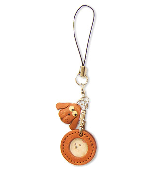 DOG LEATHER CELLULARPHONE CHARM PICTURE FRAME ROUND