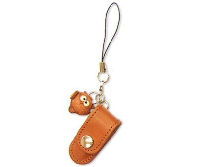 OWL LEATHER CELLULARPHONE CHARM PENCIL CASE