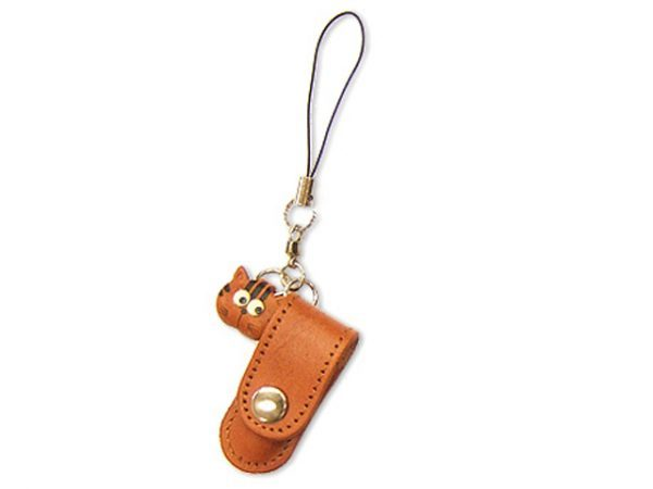 CAT LEATHER CELLULARPHONE CHARM PENCIL CASE