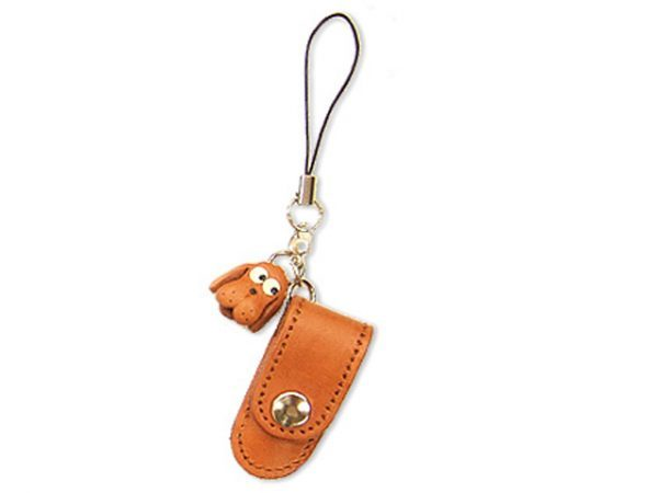 DOG LEATHER CELLULARPHONE CHARM PENCIL CASE