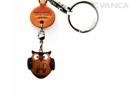 INITIAL OWL H LEATHER ANIMAL KEYCHAIN