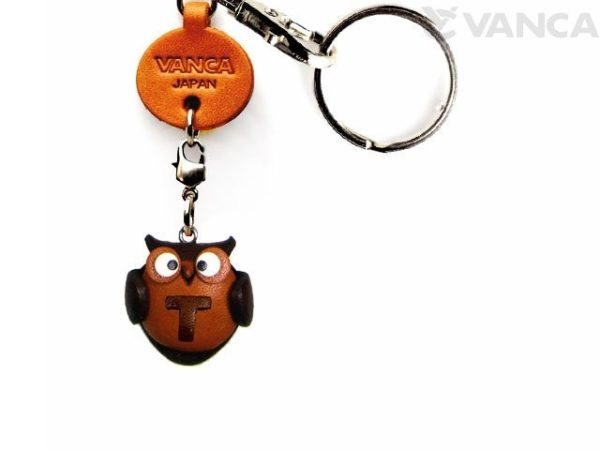 INITIAL OWL T LEATHER ANIMAL KEYCHAIN