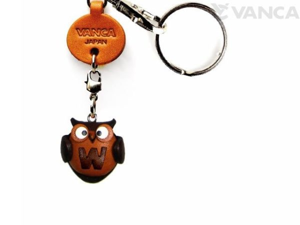 INITIAL OWL W LEATHER ANIMAL KEYCHAIN
