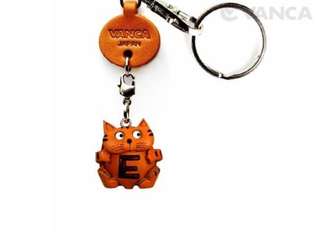 INITIAL CAT E LEATHER ANIMAL KEYCHAIN