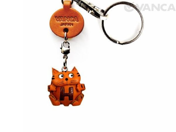 INITIAL CAT H LEATHER ANIMAL KEYCHAIN