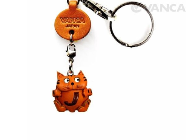 INITIAL CAT J LEATHER ANIMAL KEYCHAIN