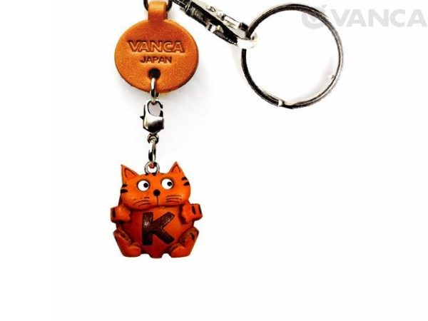 INITIAL CAT K LEATHER ANIMAL KEYCHAIN