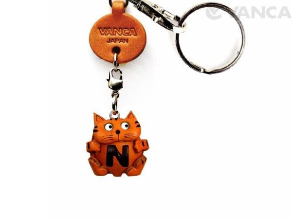 INITIAL CAT N LEATHER ANIMAL KEYCHAIN