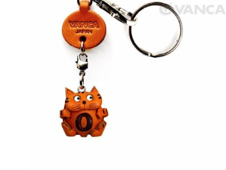 INITIAL CAT O LEATHER ANIMAL KEYCHAIN