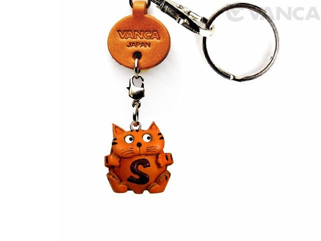 INITIAL CAT S LEATHER ANIMAL KEYCHAIN