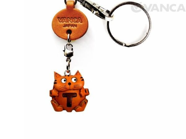 INITIAL CAT T LEATHER ANIMAL KEYCHAIN
