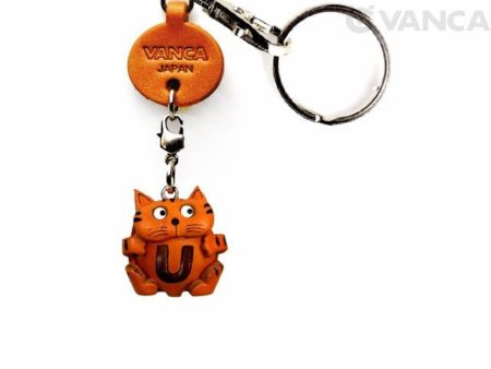 INITIAL CAT U LEATHER ANIMAL KEYCHAIN