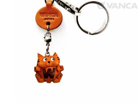 INITIAL CAT W LEATHER ANIMAL KEYCHAIN