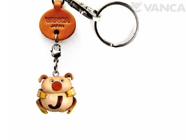 INITIAL PIG J LEATHER ANIMAL KEYCHAIN
