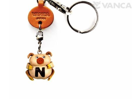 INITIAL PIG N LEATHER ANIMAL KEYCHAIN