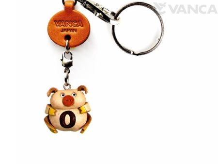INITIAL PIG O LEATHER ANIMAL KEYCHAIN