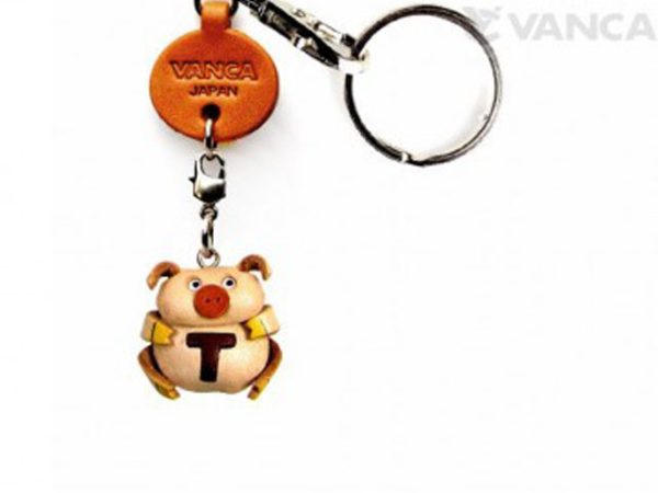 INITIAL PIG T LEATHER ANIMAL KEYCHAIN