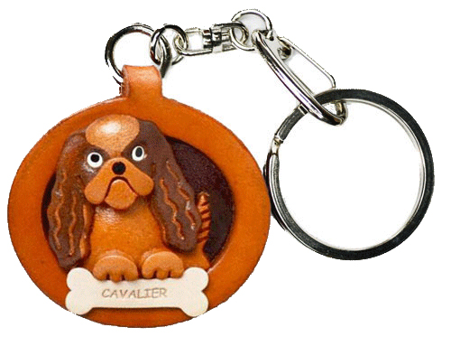 CAVALIER K.C.SPANIEL LEATHER DOG PLATE KEYCHAIN