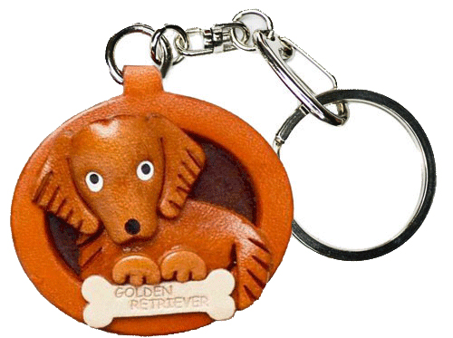 GOLDEN RETRIEVER LEATHER DOG PLATE KEYCHAIN
