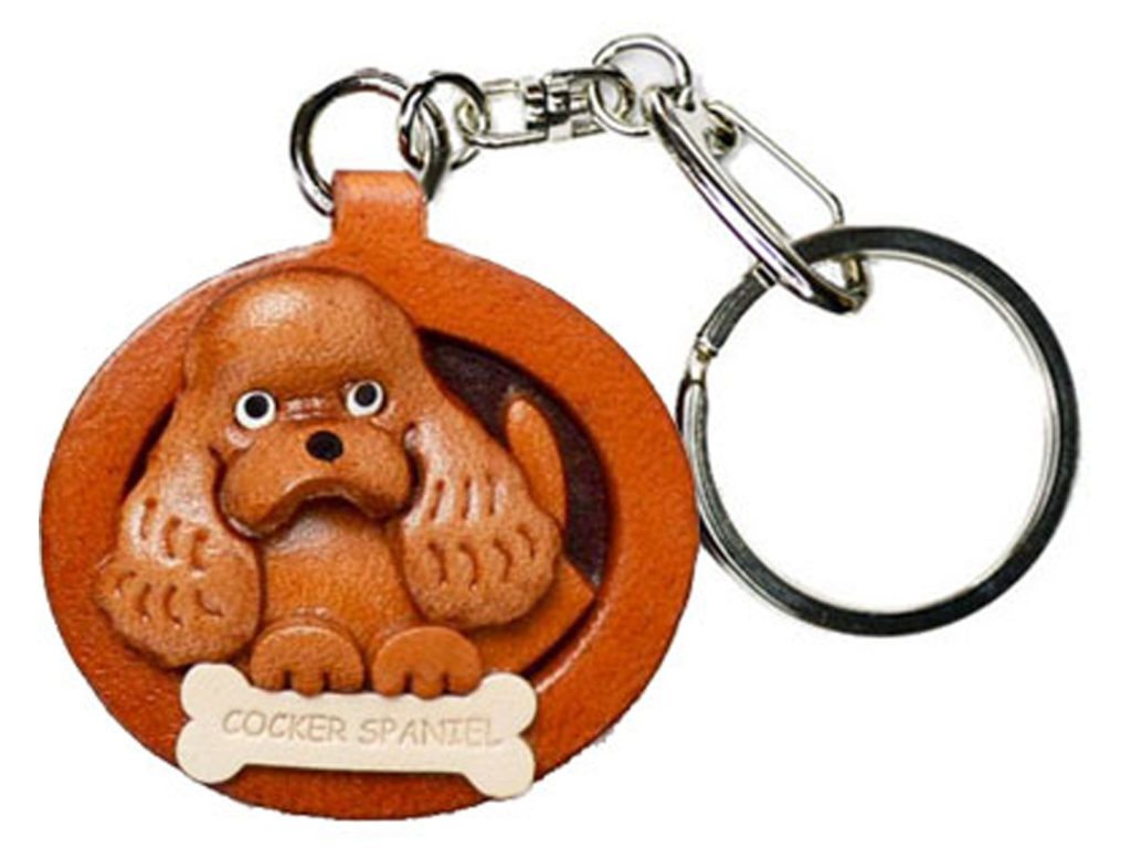 COCKER SPANIEL LEATHER DOG PLATE KEYCHAIN