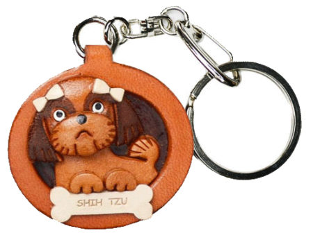 SHIH TZU LEATHER DOG PLATE KEYCHAIN