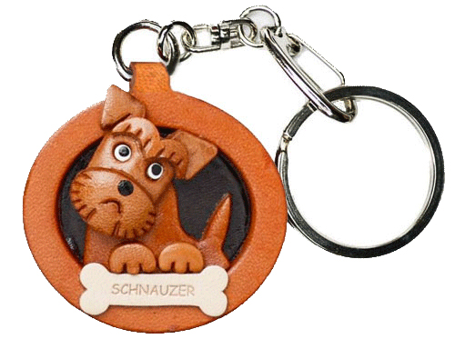 SCHNAUZER LEATHER DOG PLATE KEYCHAIN