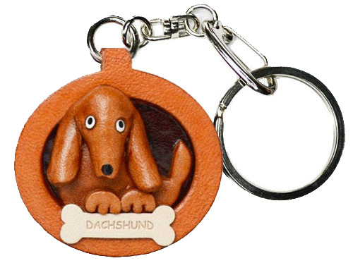 DACHSHUND SMOOTH LEATHER DOG PLATE KEYCHAIN