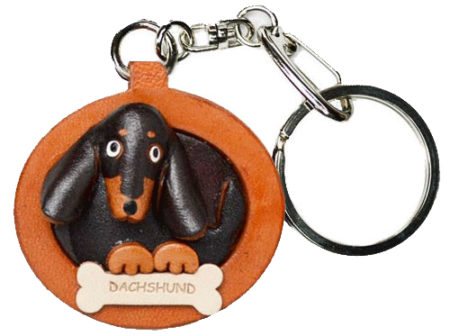 DACHSHUND SHORT HAIR BLACK&TAN LEATHER DOG PLATE KEYCHAIN