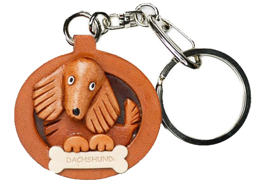 DACHSHUND LONG HAIR LEATHER DOG PLATE KEYCHAIN