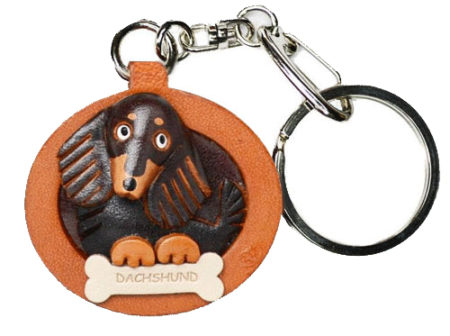 DACHSHUND LONG HAIR BLACK&TAN LEATHER DOG PLATE KEYCHAIN