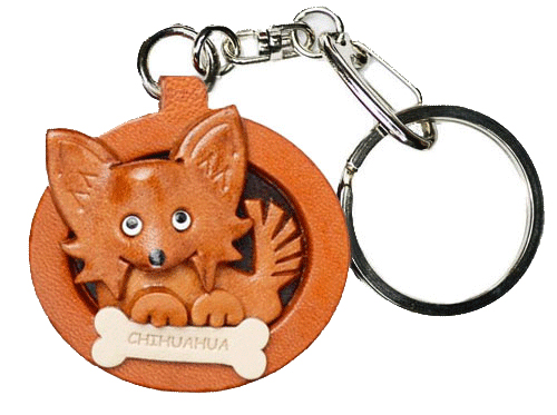 CHIHUAHUA LONG HAIRD LEATHER DOG PLATE KEYCHAIN