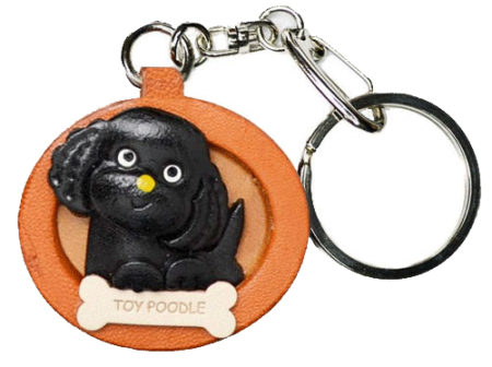 TOY POODLE BLACK LEATHER DOG PLATE KEYCHAIN