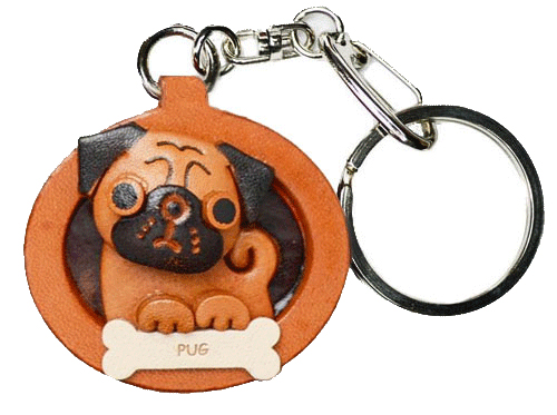 PUG LEATHER DOG PLATE KEYCHAIN