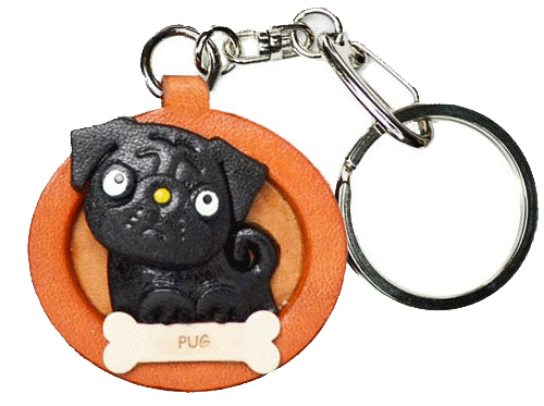 PUG BLACK LEATHER DOG PLATE KEYCHAIN